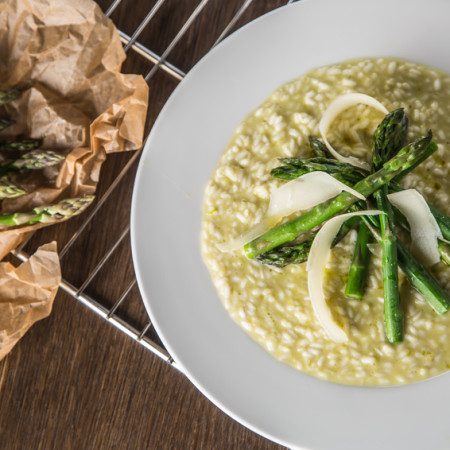 Tasty mediterranean meal risotto with asparagus